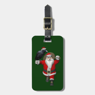Happy Santa Claus With Huge Raven Luggage Tag