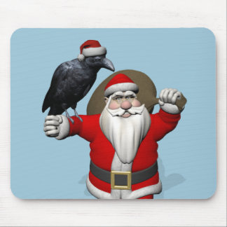 Happy Santa Claus With Huge Raven Mouse Pad