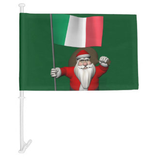 Happy Santa Claus With  Il Tricolore Of Italy Car Flag