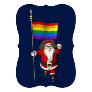 Happy Santa Claus With Rainbow Flag Card