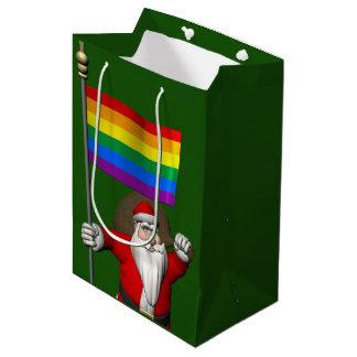 Happy Santa Claus With Rainbow Flag Medium Gift Bag