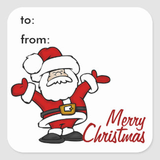 Happy Santa Gift Tag Sticker