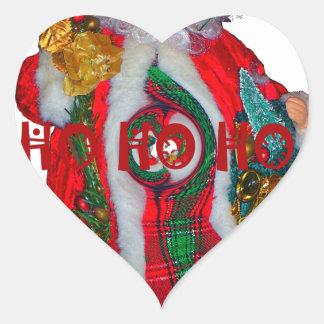 Happy Santa Hohoho Greetings graphic text art desi Heart Sticker