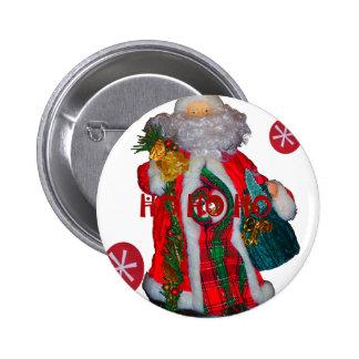 Happy Santa Hohoho Greetings graphic text art desi Pinback Button