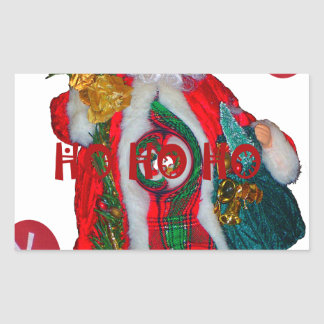 Happy Santa Hohoho Greetings graphic text art desi Rectangular Sticker