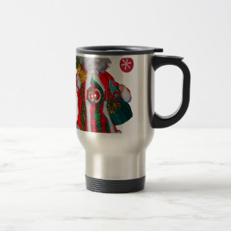 Happy Santa Hohoho Greetings graphic text art desi Travel Mug