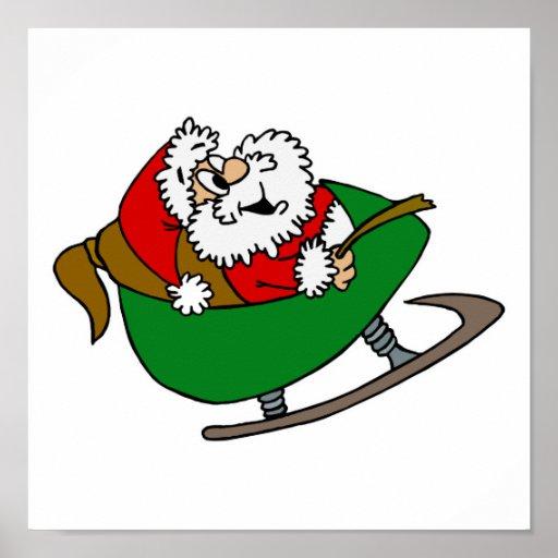 Happy Santa in Sleigh Poster