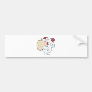 Happy Santa Polar Bear Waving A Greeting Bumper Sticker