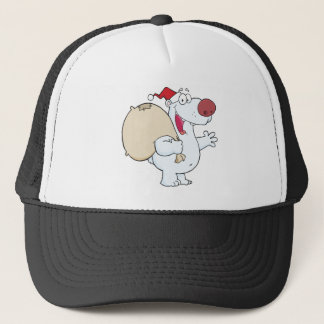 Happy Santa Polar Bear Waving A Greeting Trucker Hat