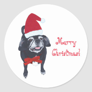 Happy Santa Pug Dog Merry Christmas Stickers