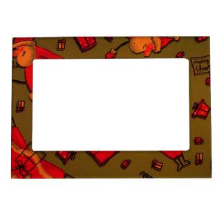 happy santa red photo frame magnets