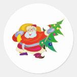 Happy Santa Round Stickers