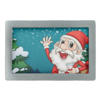 Happy Santa sitting in front of the pine tree Belt Buckle