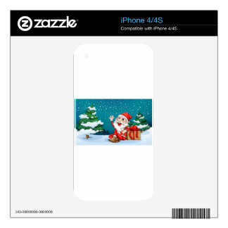 Happy Santa sitting in front of the pine tree Decals For iPhone 4