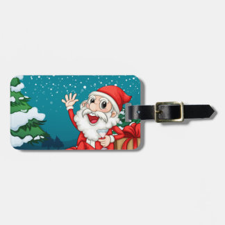 Happy Santa sitting in front of the pine tree Luggage Tag