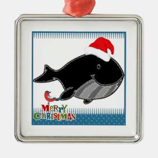 Happy Santa Whale Christmas collection Metal Ornament