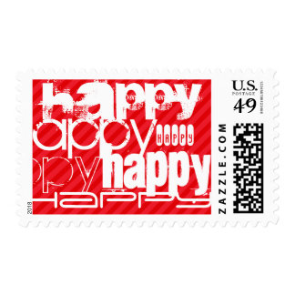 Happy; Scarlet Red Stripes Postage