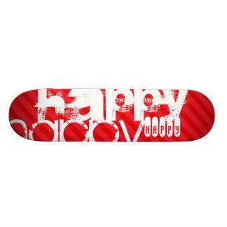 Happy; Scarlet Red Stripes Skateboard Deck