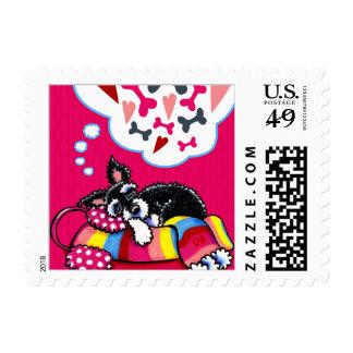 Happy Schnauzer Dreams Winter Valentines Postage