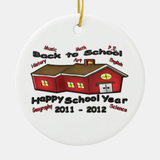 Happy School Year Double-Sided Ceramic Round Christmas Ornament