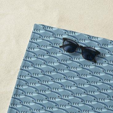 Beach Themed Happy Schooling Fish Blue Beach Towel