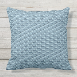 Happy Schooling Fish Blue Throw Pillow