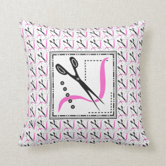 Happy Scissors Retro Seamstress Sewing Throw Pillow