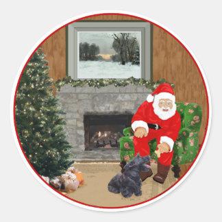 Happy Scottish Terrier & Santa Classic Round Sticker