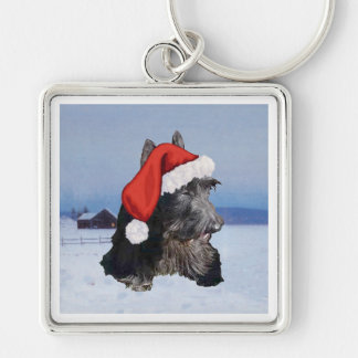 Happy Scottish Terrier  Santa Hat Silver-Colored Square Keychain