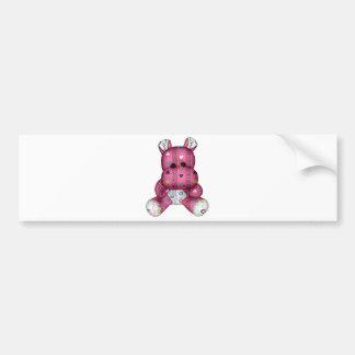 happy scribble hearts hippo bumper sticker