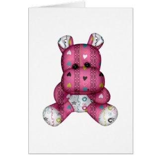 happy scribble hearts hippo card