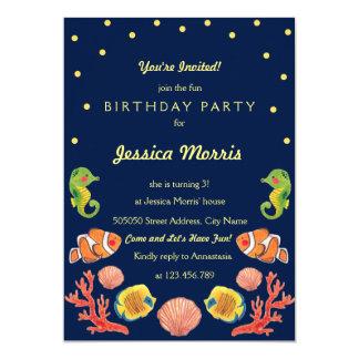 "Happy Sea Animal Kids Birthday Party Invitation 5"" X 7"" Invitation Card"