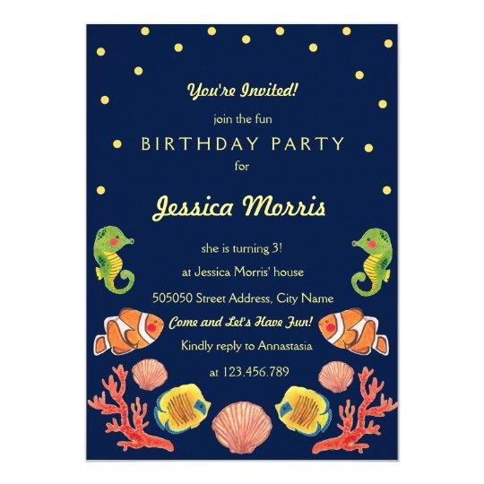 Happy Sea Animal Kids Birthday Party Invitation