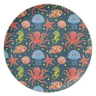 Happy Sea Animal Dinner Plate