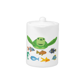 Happy Sea Turtle and Fish Swimming in the Sea Teapot