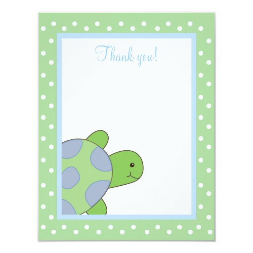 HAPPY SEA TURTLE (Green) 4x5 Flat Thank you note Card