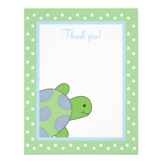 HAPPY SEA TURTLE (Green) 4x5 Flat Thank you note Personalized Invite