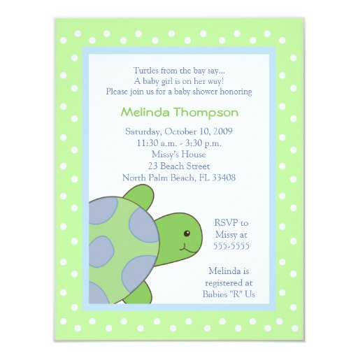 Happy Sea Turtle Green Baby Shower Invitation