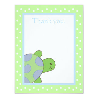 Happy Sea Turtle Green Thank you note flat card