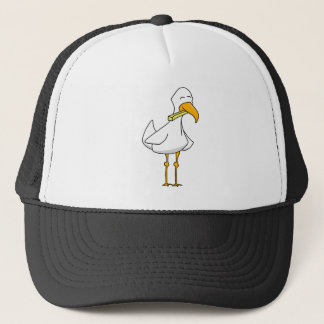Happy Seagull with a French Fry Trucker Hat