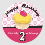 Happy Second (2nd) Birthday Cupcake Stickers!