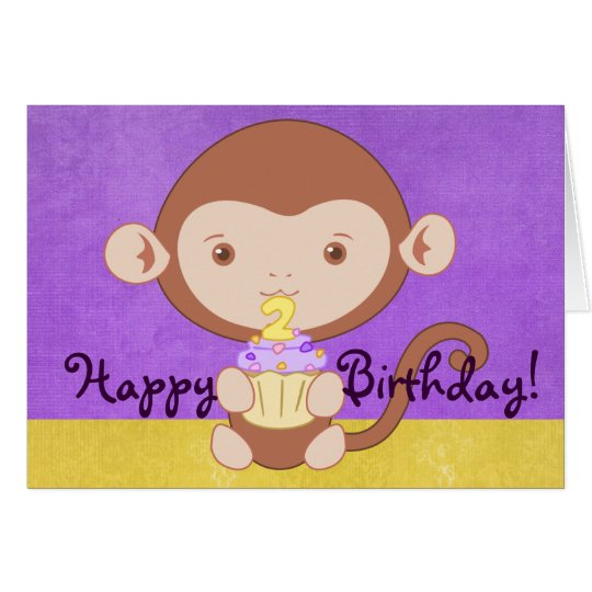 Happy Second Birthday Monkey Card