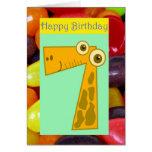 Happy seventh birthday 7th birthday turning seven greeting card