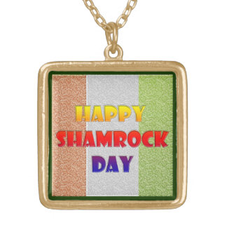 Happy Shamrock Day Gold Plated Necklace