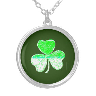 Happy Shamrock Day Silver Plated Necklace