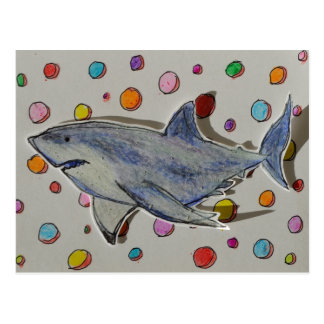 Happy Shark Swimming in a Sea of Dots Postcard
