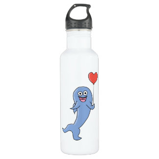 Happy Shark with Heart Shaped Balloon. 24oz Water Bottle