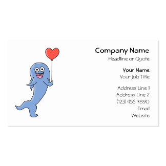 Happy Shark with Heart Shaped Balloon. Business Cards