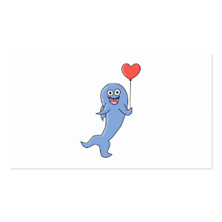 Happy Shark with Heart Shaped Balloon. Business Card