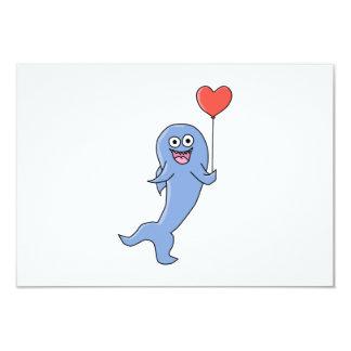 Happy Shark with Heart Shaped Balloon. Card